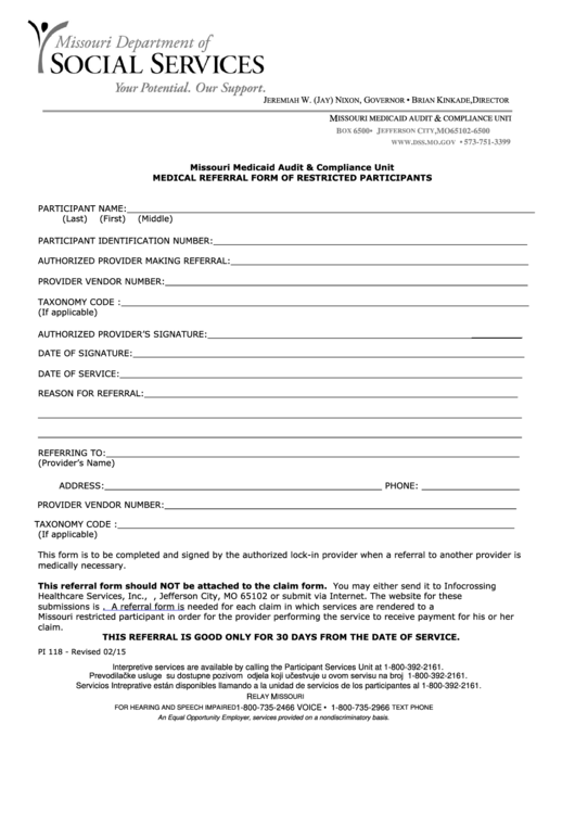 Form Pi 118 - Medical Referral Form Of Restricted Participants - Missouri Department Of Social Services