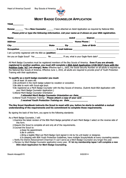 Merit Badge Counselor Application Form - Heart Of America