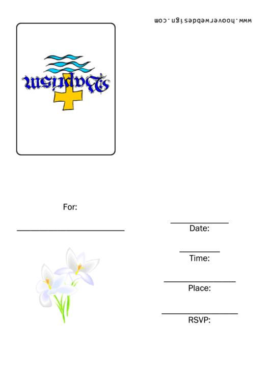 Baptism Invitation Template Printable pdf