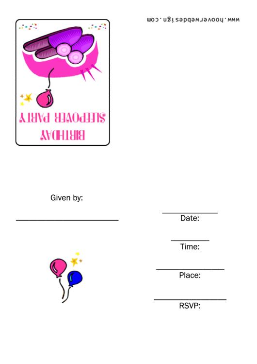 Birthday Sleepover Party Invitation Template Printable pdf
