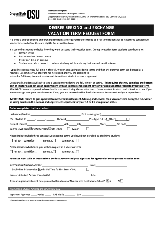 International Student Vacation Term Request Form - Degree Seeking And Exchange
