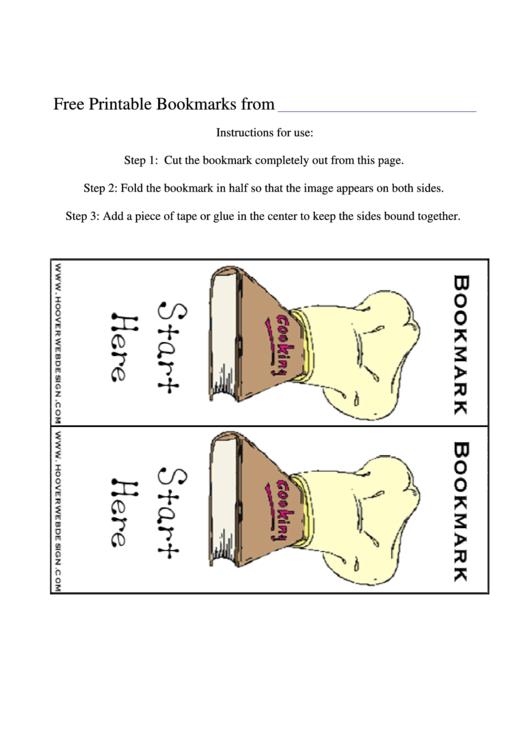 Cooking Hat Bookmark Template Printable pdf