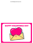 Happy Valentines Day Pink Heart Card Template