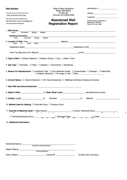 Abandoned Well Registration Report Form State Of New