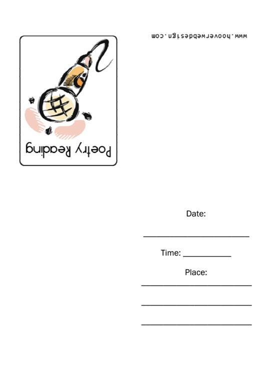 Poetry Reading Invitation Template Printable pdf