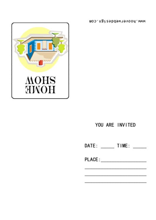 Home Show Invitation Template Printable pdf