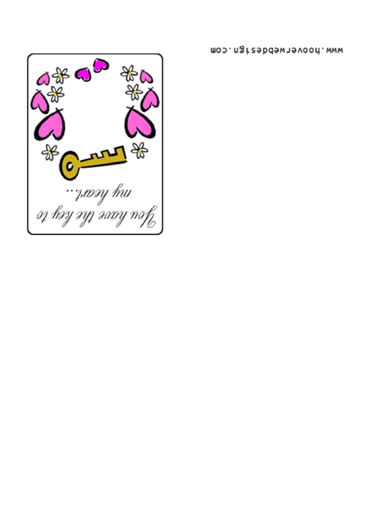 Key To My Heart Valentine Card Template Printable pdf