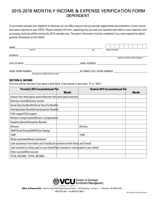 monthly income and expense verification form dependent