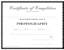 Photography - Certificate Of Completion Template