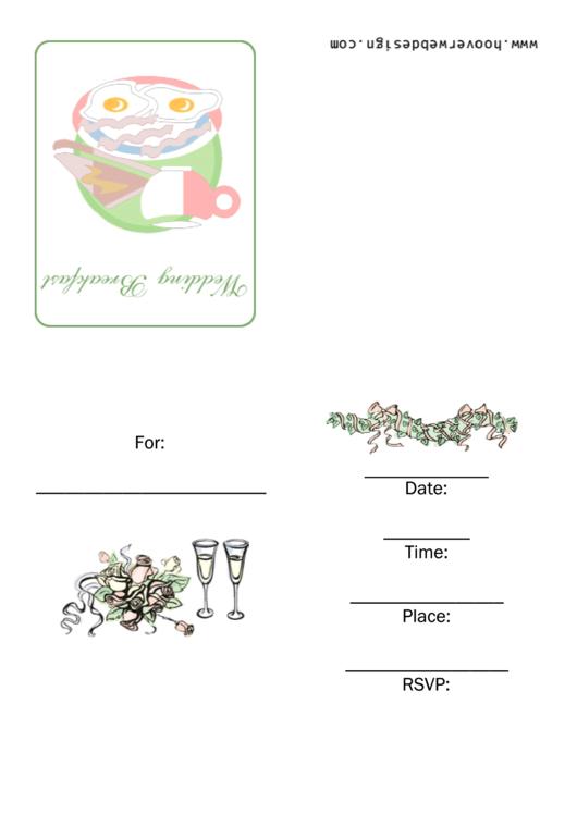Wedding Breakfast Invitation Template Printable pdf