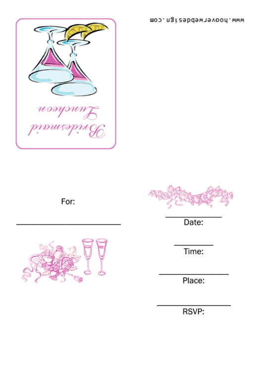 Bridesmaid Luncheon Party Invitation Template Printable pdf