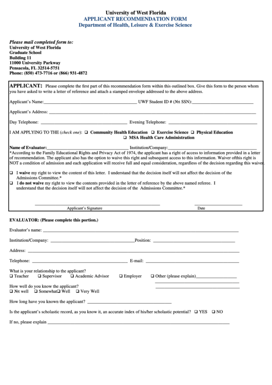 Applicant Recommendation Form