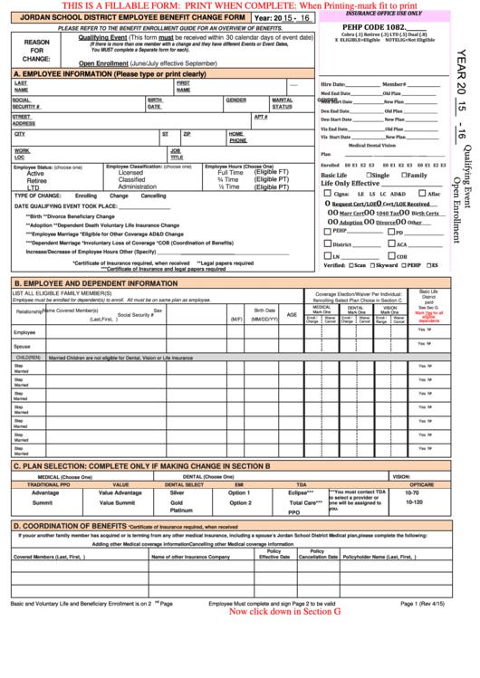 Employee Life Insurance Form
