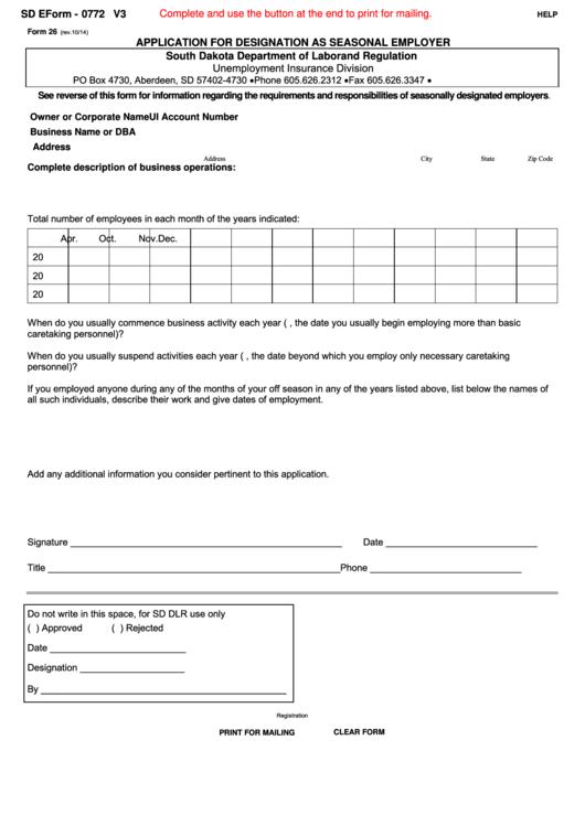 Form 26 - Application For Designation As Seasonal Employer