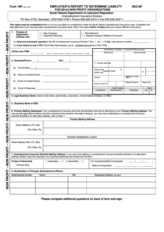 Form 1np - Employer's Report To Determine Liability For 501c3 Non Profit Organizations
