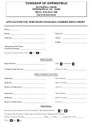 Application Form For Temporary/seasonal/summer Employment