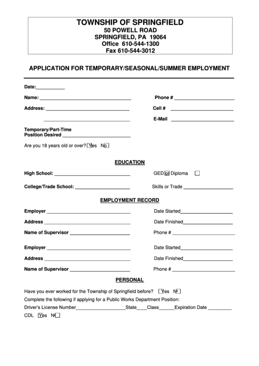 Application Form For Temporary/seasonal/summer Employment Printable pdf