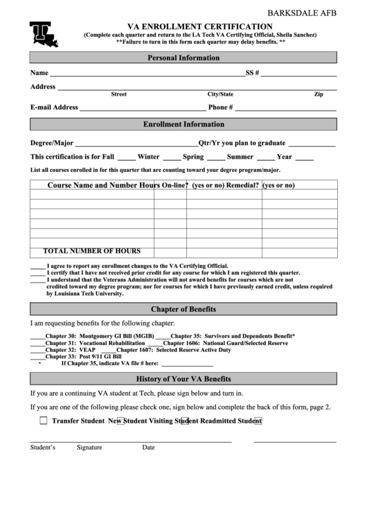 Top 9 Va Enrollment Form Templates free to download in PDF, Word ...