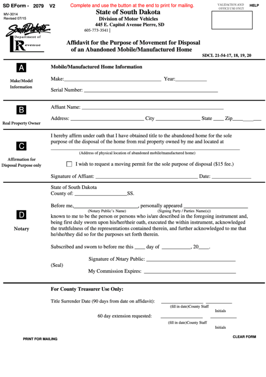 Form Mv-3014 - Affidavit For The Purpose Of Movement For Disposal Of An Abandoned Mobile/manufactured Home