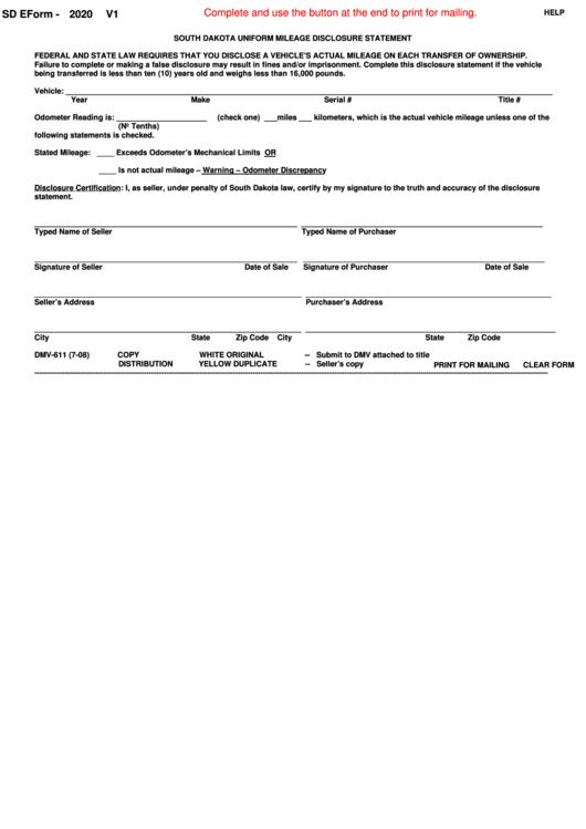 Form Dmv-611 - South Dakota Uniform Mileage Disclosure Statement