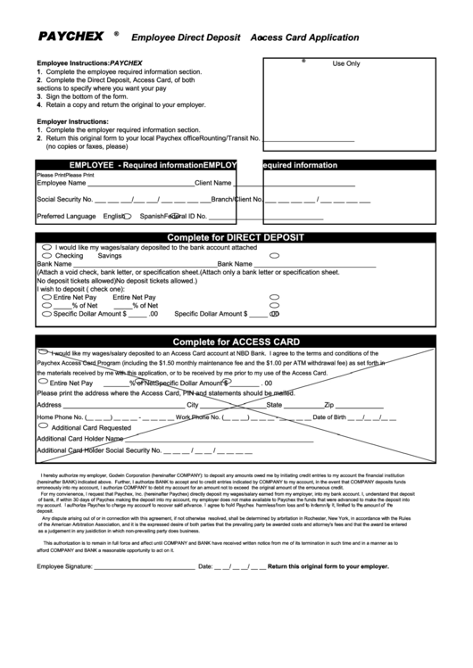 direct deposit forms for employees template - employee direct deposit access card application form