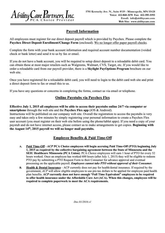 Direct Deposit Enrollment/change Form