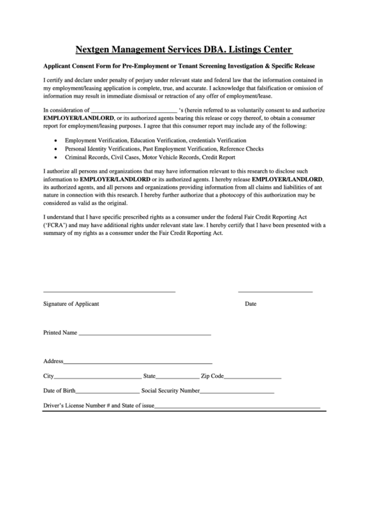applicant consent form for pre