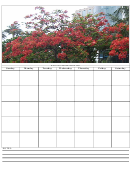Charming Red Flowering Tree Monthly Calendar Template