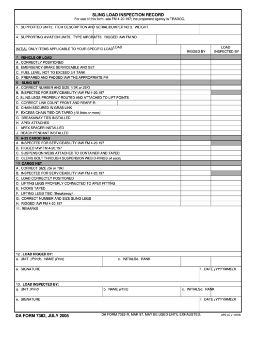 Fillable Form 7382 - Sling Load Inspection Record Printable pdf