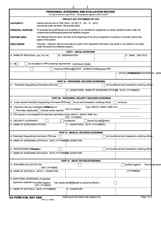 Fillable Form 3180- Personnel Screening And Evaluation Record Printable pdf