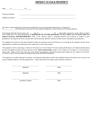Deposit Form To Hold Property