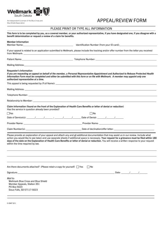 Appeal/review Form - Wellmark, South Dakota printable pdf ...