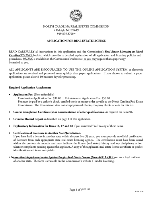 Real Estate License Application (form Rec 1.02) - North Carolina Real Estate Commission