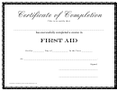 First Aid - Certificate Of Completion Template