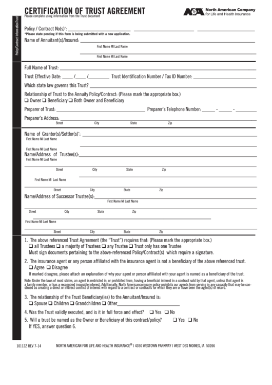 trust form certification agreement printable pdf fillable template