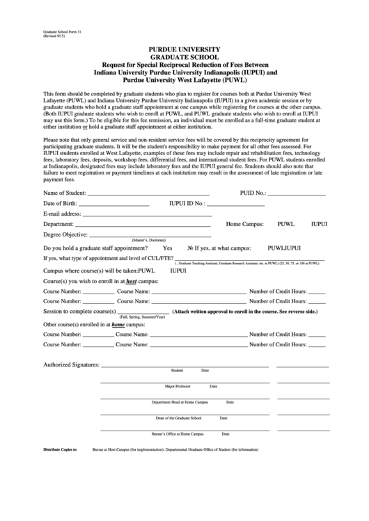 Fillable Form 31 - Request For Special Reciprocal Reduction Of Fees Between Iupui And Puwl Form - Purdue University Printable pdf