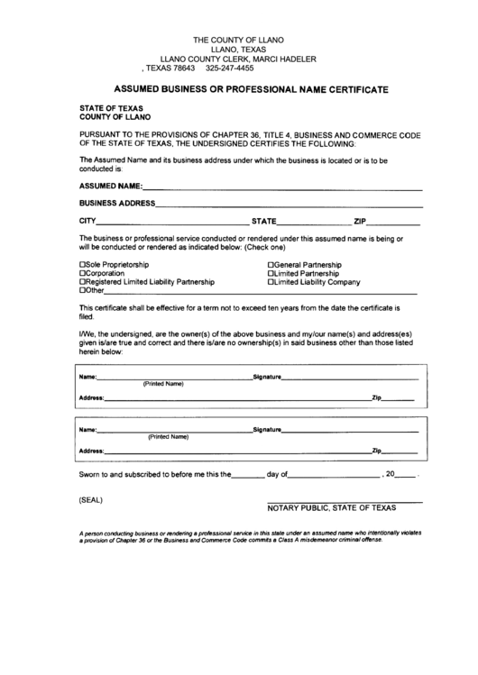 Assumed Business Or Professional Name Certificate Form Llano
