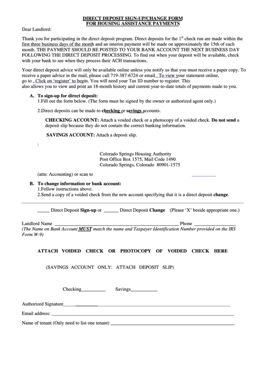 Direct Deposit Sign-up/change Form For Housing Assistance Payments