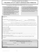 Form Ds De 49-os/ts - Provisional Ballot Voter's Certificate And Affirmation - Provisional Ballot Processing Procedures (2006)