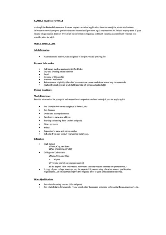 Resume Format Sample Form Printable pdf