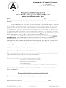 Alexander County Schools - School Plan For Management Of Student Behavior Board Of Education Policy 4303 Form - North Carolina Exceptional Children Department