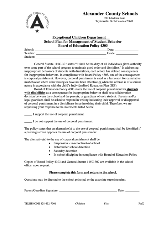 Alexander County Schools - School Plan For Management Of Student Behavior Board Of Education Policy 4303 Form - North Carolina Exceptional Children Department Printable pdf