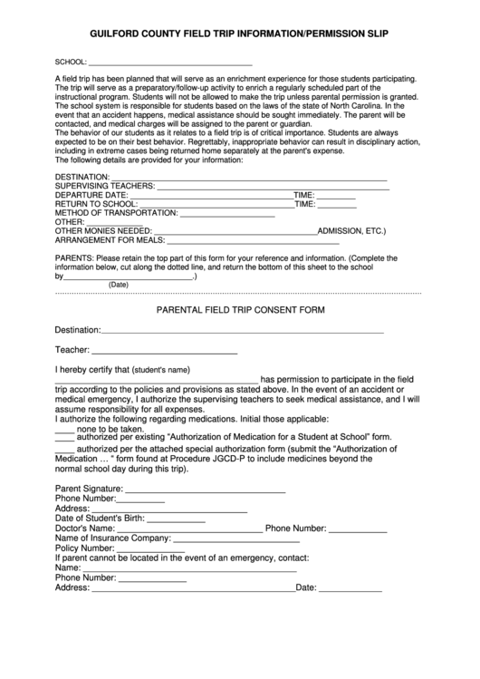 guilford county field trip information  permission slip