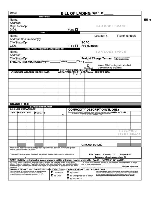 fillable bill of lading form printable pdf download