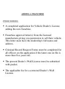 Form Cs-042 - Application For Vehicle Dealer's License
