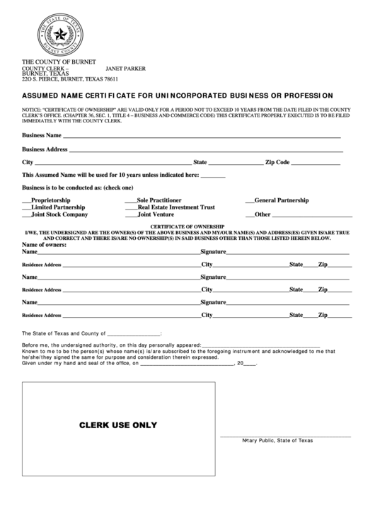 Fillable Assumed Name Certificate For Unincorporated Business Or