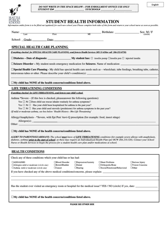 top 12 student health record templates free to download in pdf format