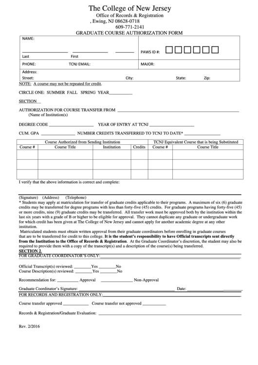Graduate Course Authorization Form