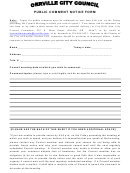 Public Comment Notice Form