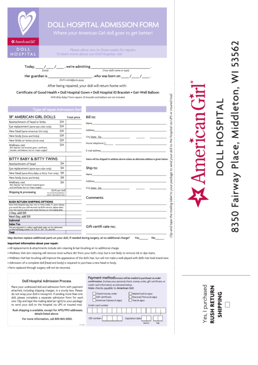 Top American Girl Doll Hospital Form Templates free to download in PDF format
